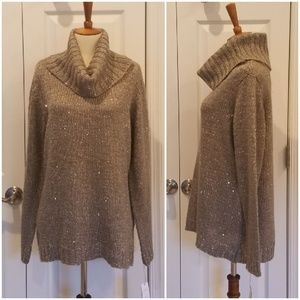 Liz Claiborne Smoky Taupe Sequin Sweater ##